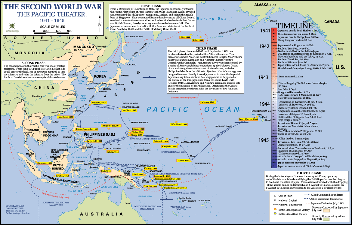 Map of the Asiatic Pacific WWII Theater | WWII Medals
