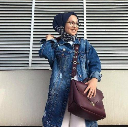 Oversized Jean Jacket With Hijab Candy Colors Hijab Outfits Just