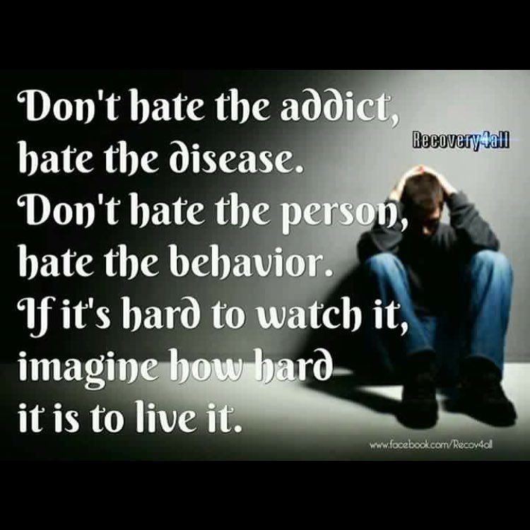 Quotes About Loving An Addict: Don't Hate The Addict, Hate The Disease. Don't Hate The