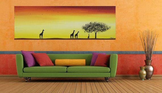 """Pintura animal original al óleo moderna Pintura Paisaje África Oficina decoración de la pared """"Jirafa, Árbol y puesta del sol"""" por QIQIGALLERY"""