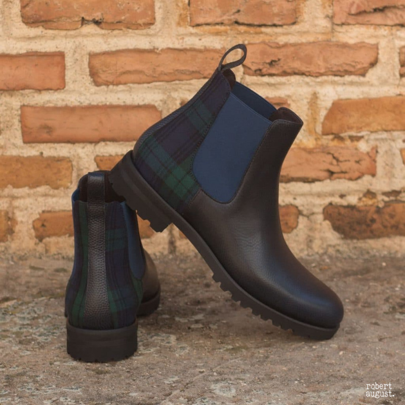 The Womens Chelsea Boot in Navy Blue Pebble Grain Leather with Blackwatch – Robert August Apparel