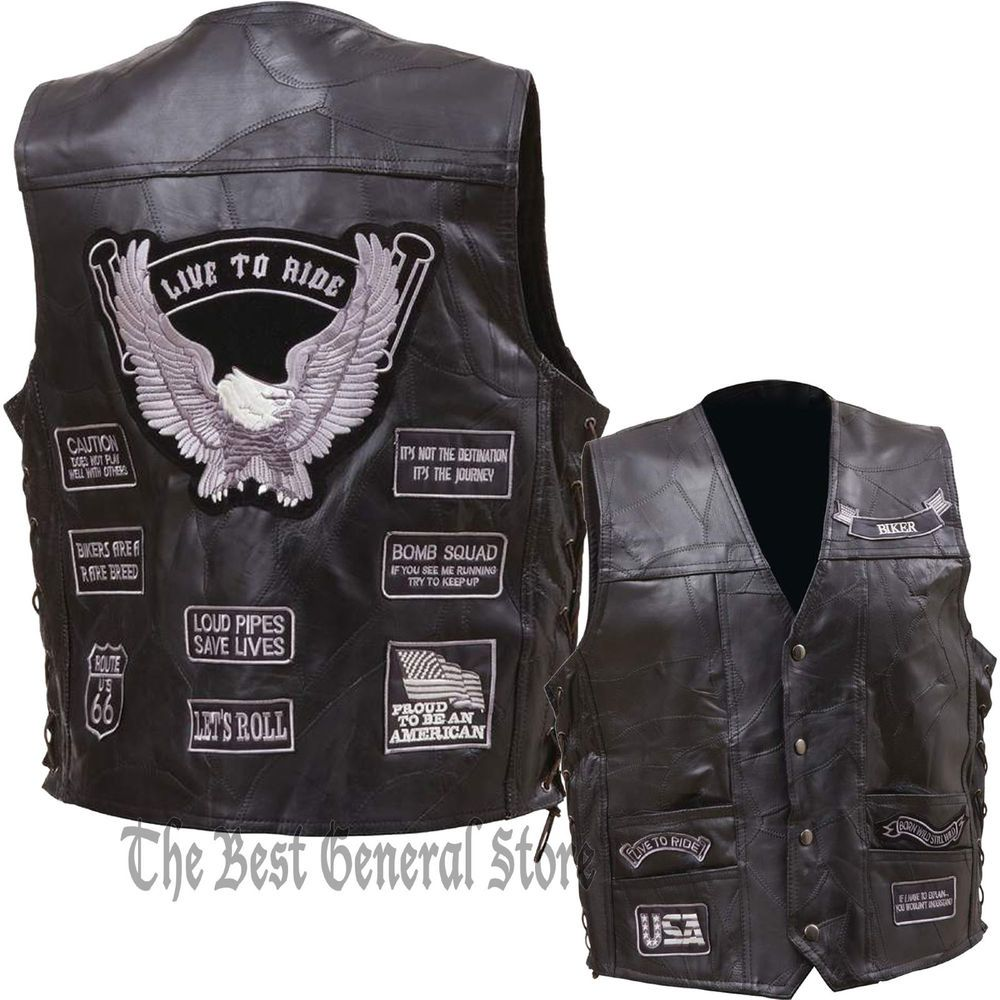 Coats & Jackets Son Of Anarchy Black Real Leather Handmade Motorcycle Biker Waistcoat Club Vest Modern Techniques Clothing, Shoes & Accessories