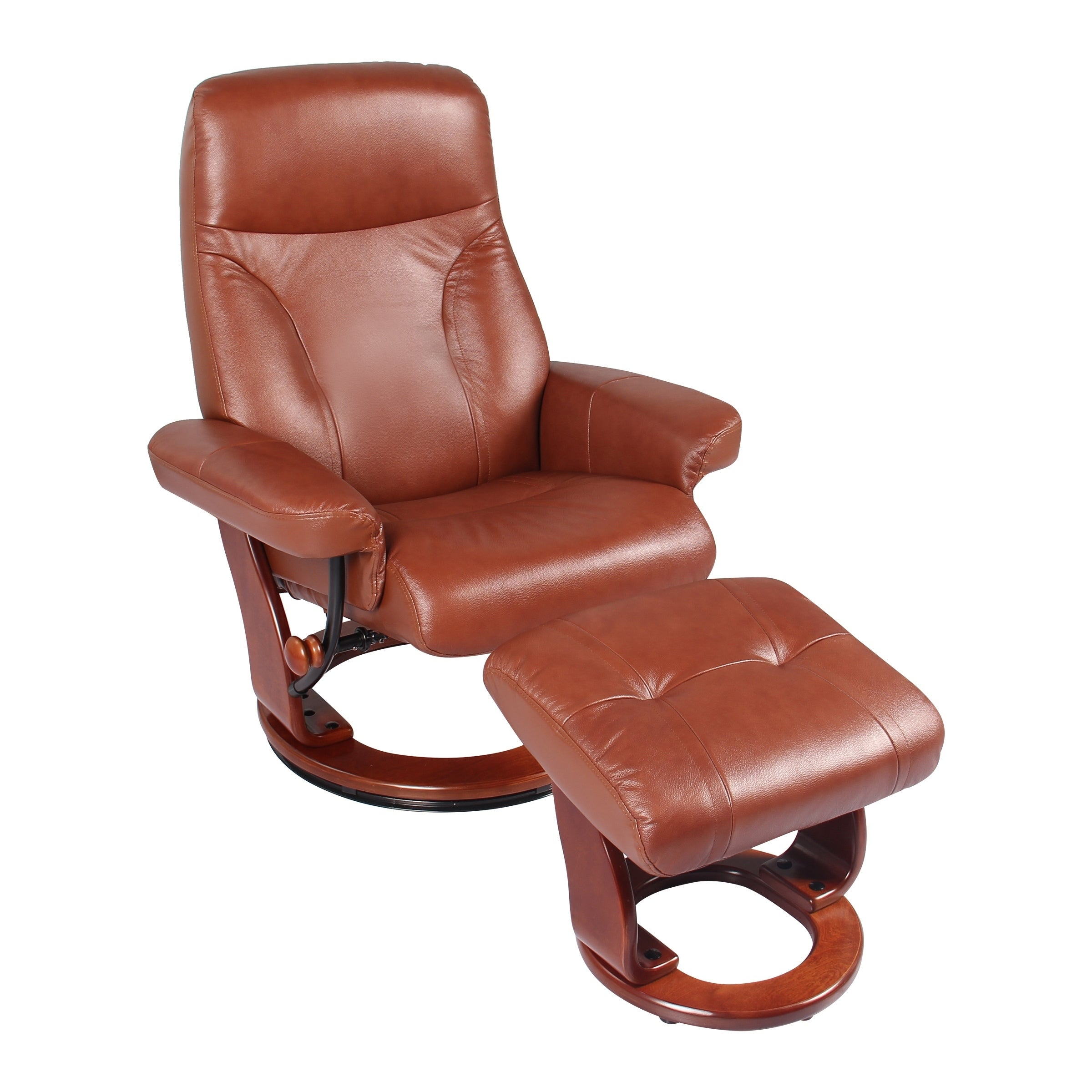Almond Leather Recliner and Ottoman (Brown), Hazel