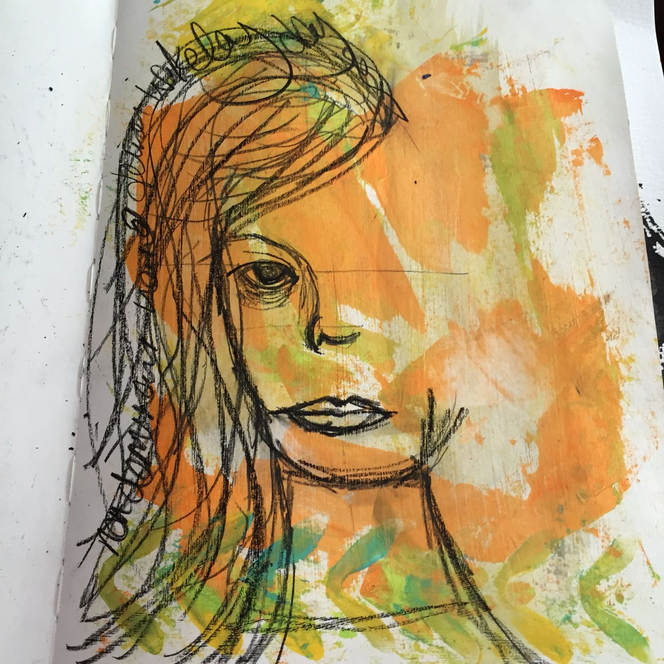 Draw with non dominate hand using the Closure technique.  @dina_wakley workshop at AFTH Harrogate  26/10/14