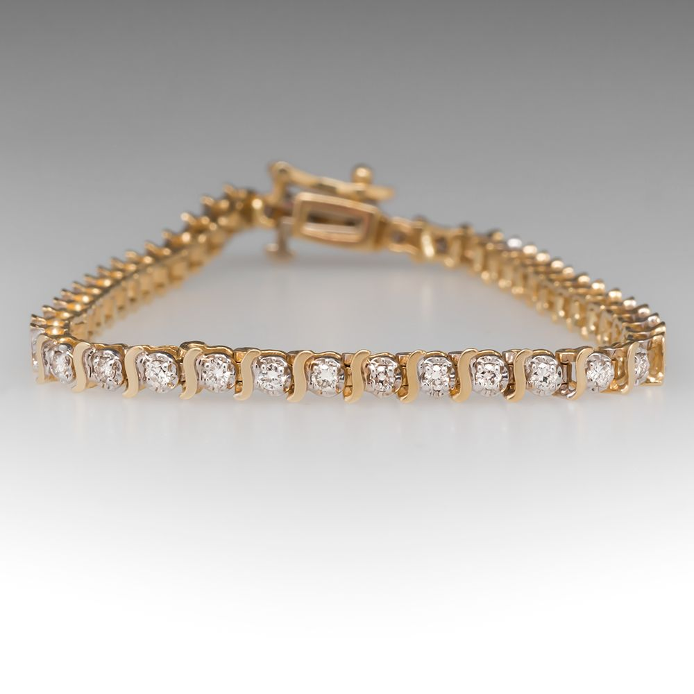 1 2 Carat Diamond Tennis Bracelet 14k Yellow Gold Tennis Bracelet Diamond Gold Earrings Indian Vintage Bracelets