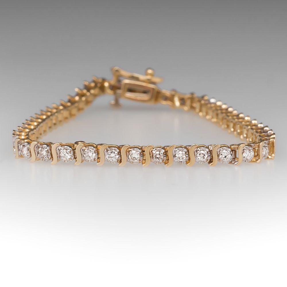 1 2 Carat Diamond Tennis Bracelet 14k Yellow Gold Tennis Bracelet Diamond Gold Earrings Indian Vintage Bracelets