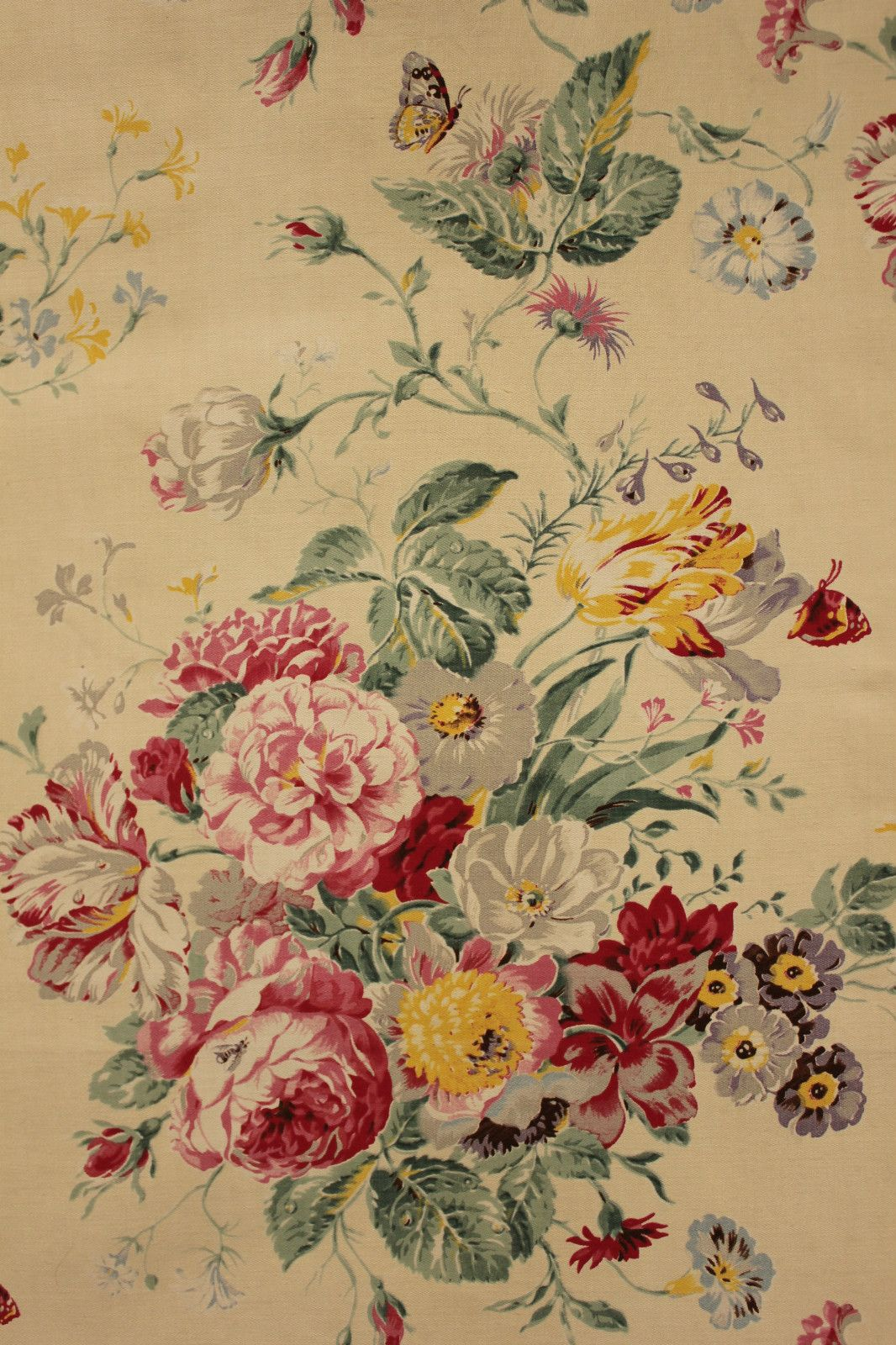 Vintage French Cotton Floral Satinized Fabric Material