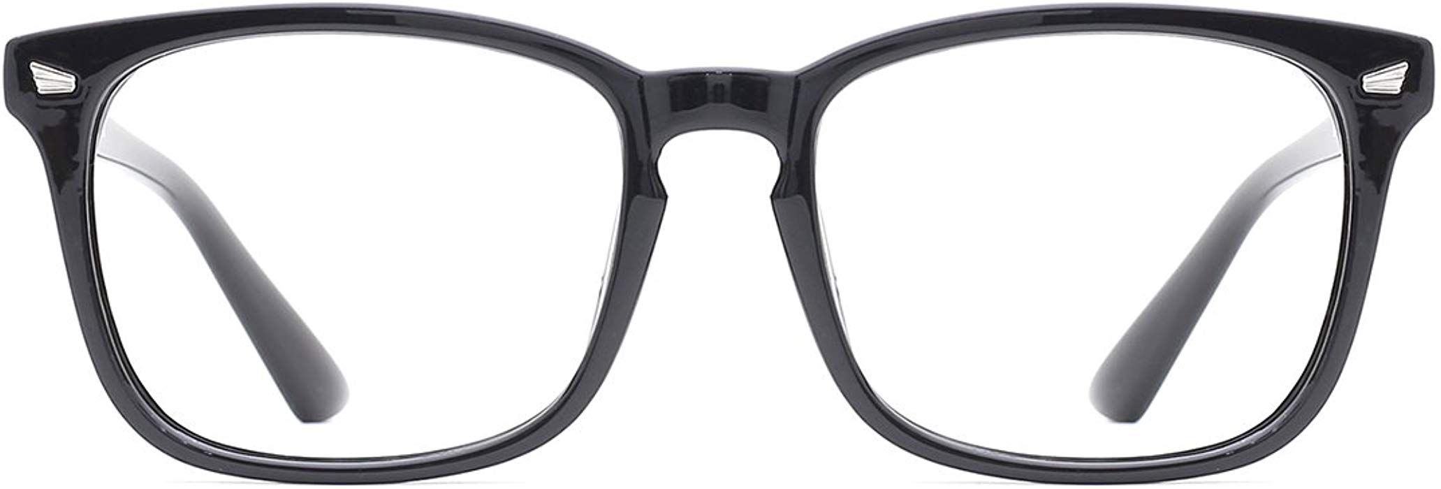 d799be8b6c Amazon.com  TIJN Blue Light Blocking Glasses Square Nerd Eyeglasses Frame  Anti Blue Ray Computer Game Glasses  Clothing