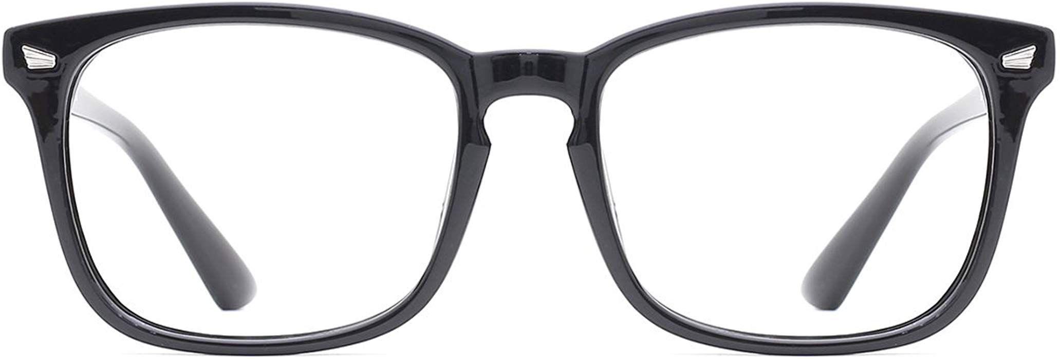 58a80f31918 Amazon.com  TIJN Blue Light Blocking Glasses Square Nerd Eyeglasses Frame  Anti Blue Ray Computer Game Glasses  Clothing