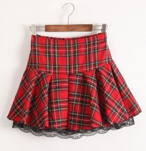 High Waist Pleated Plaid Cute lace Cake Short Skirt Scottish Kilt Tutu Student Skirt Uniform Skirt Plus Size XL-3XL