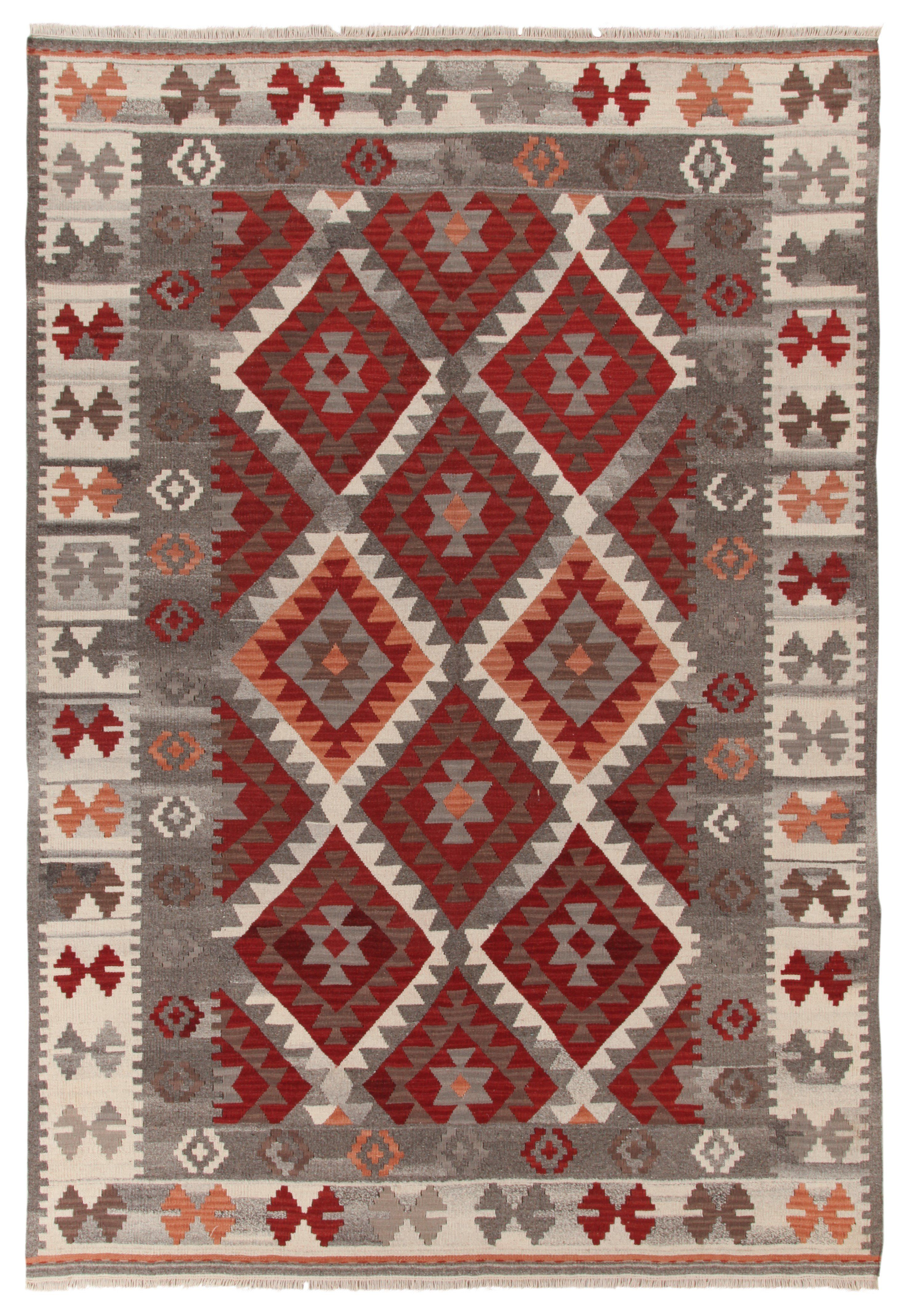 Handmade Kilim Wool Cotton Red Grey Rug