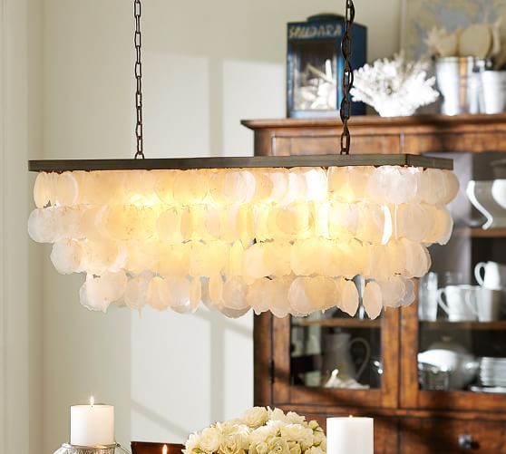 Pottery Barn Bronze Chandelier: Capiz Rectangular Chandelier