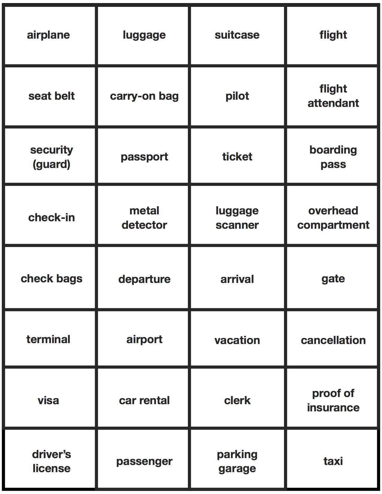 Esl Travel English Airport Activity Bingo