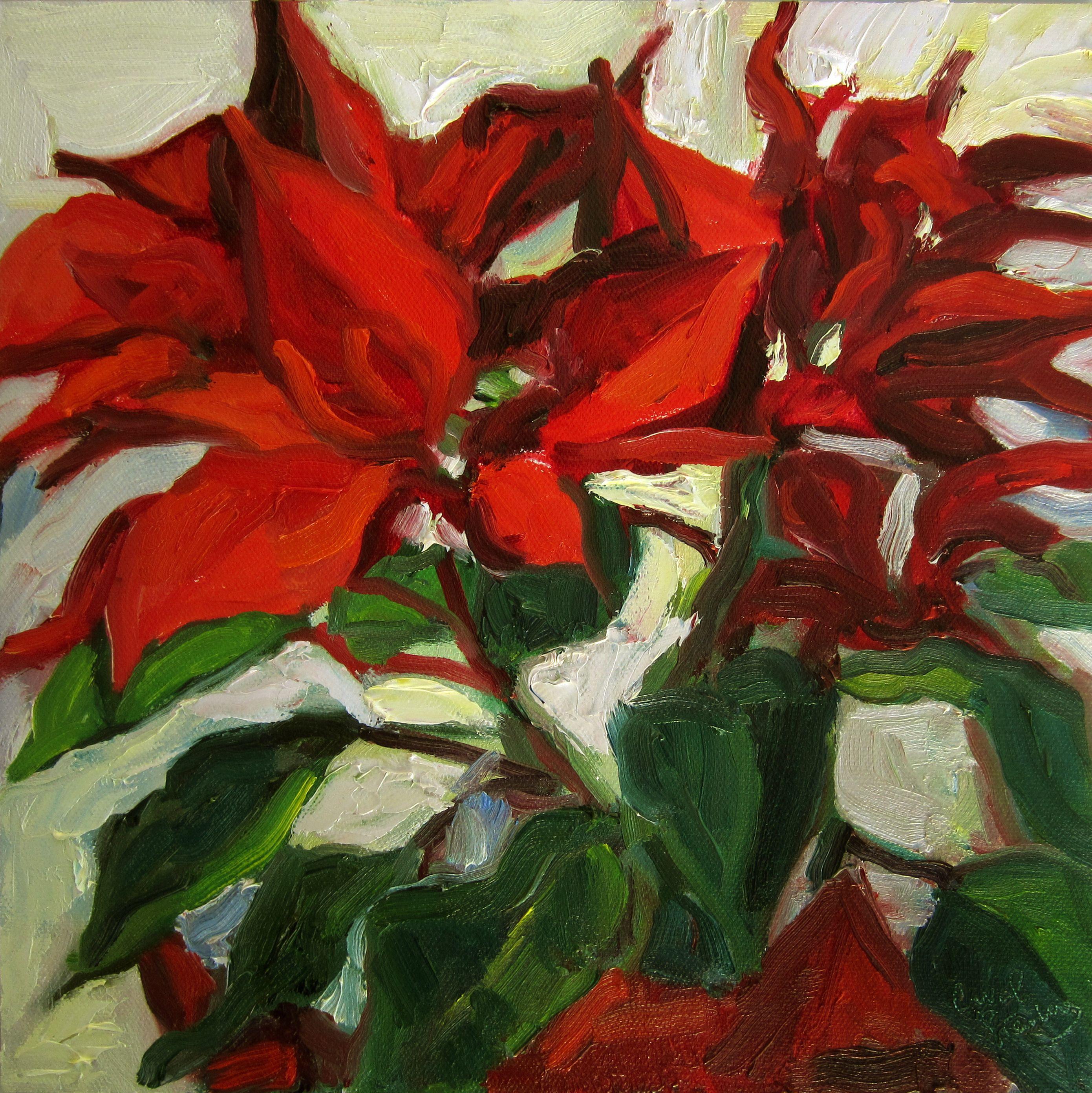 "Poinsettia in January by Carol Steinberg | $250 | 10""w x 10""h | Original Art | http://www.vangoart.co/buy/art/poinsettia-in-january @VangoArt"
