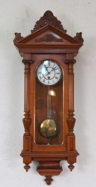 Late 19th Century Hanging Wall Clock Carved Shell Pediment Over