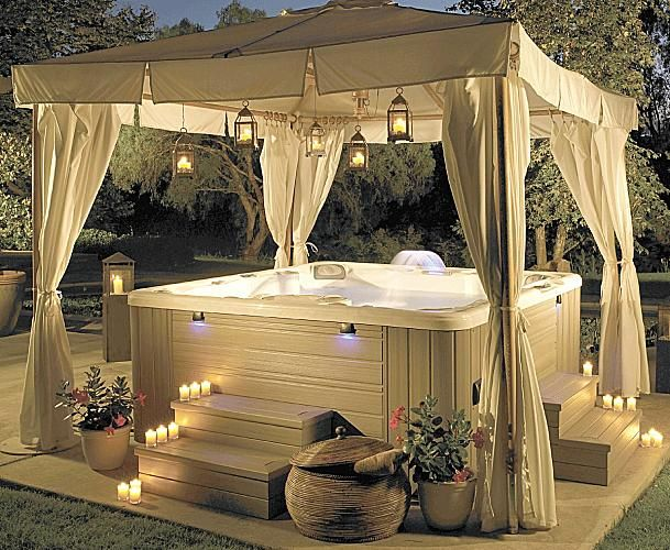 Great way to make a hot tub feel a little more secluded and luxurious! Pop-up tent, curtains, lanterns.