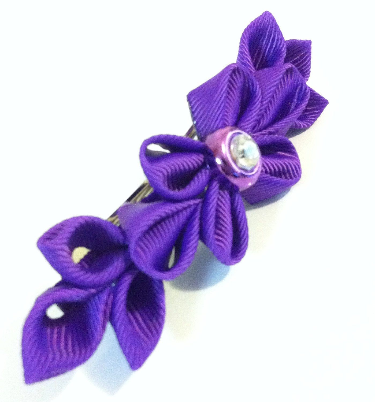 Kanzashi barrette purple hair barrettes by RoseGirlAccessories