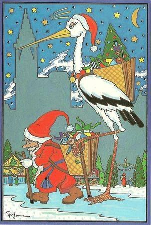 Dessin Père Noël et cigogne | Dessin pere noel, Illustrations