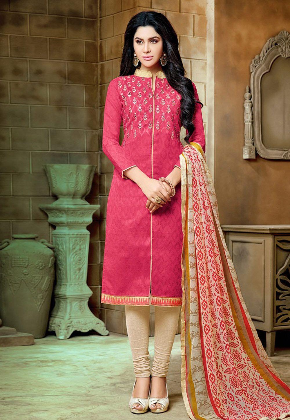 c4dc42ab13 Buy Pink Jacquard Churidar Salwar Kameez 160269 online at lowest price from  huge collection of salwar kameez at Indianclothstore.com.