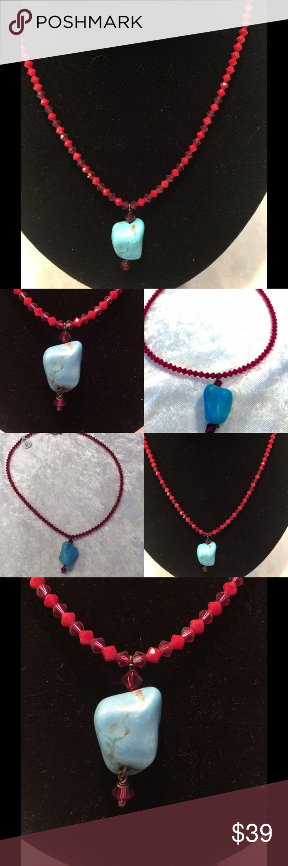 Swarovski Crystal ruby and turquoise necklace Hand Made by local designer, beautiful ruby and turquoise necklace with silver closure. Hand Made, original $119.00 Jewelry Necklaces