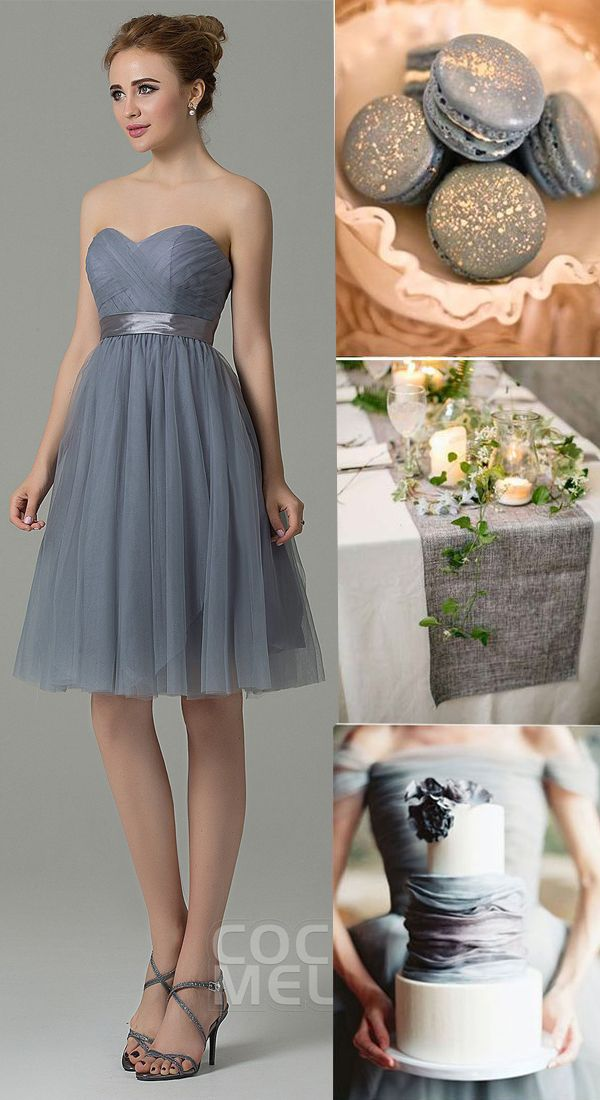 4ff763325ec Chic Sweetheart Natural Knee Length Tulle Grey Sleeveless Zipper  Convertible Bridesmaid Dress with Ribbons COZM15016  bridesmaiddresses   cocomelody