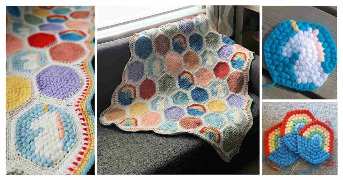 Free Crochet Pattern Diy Crochet Hexipuff Unicorn Blanket Diy