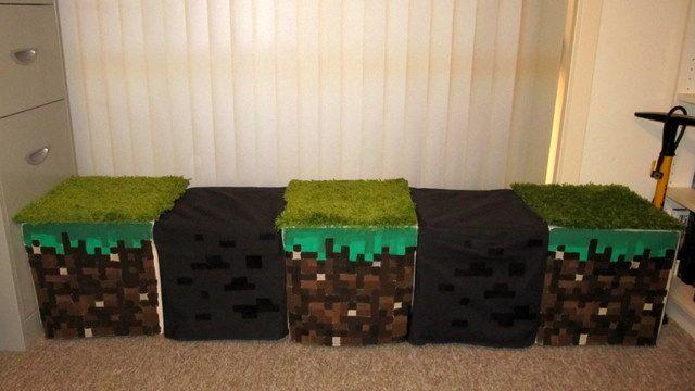 Minecraft Inspired Window Seat Stools Minecraft Bedroom Decor