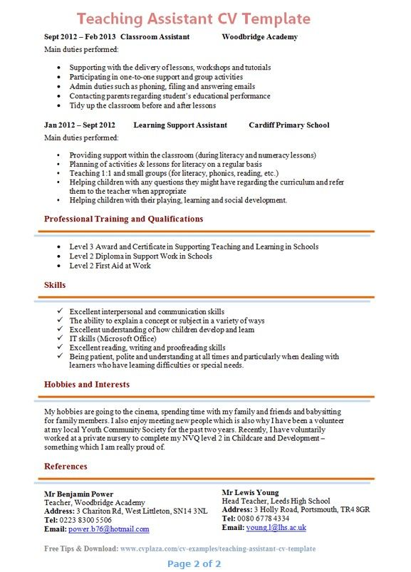 Teacher Assistant Cover Letter With Experience from i.pinimg.com