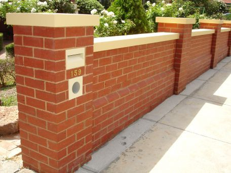 Red Brick Fence With Capping Stone Brick Fence Red Brick Walls Exterior Brick