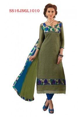 Office Wear Green Chanderi Cotton Salwar Suit  - SS16JNGL1010