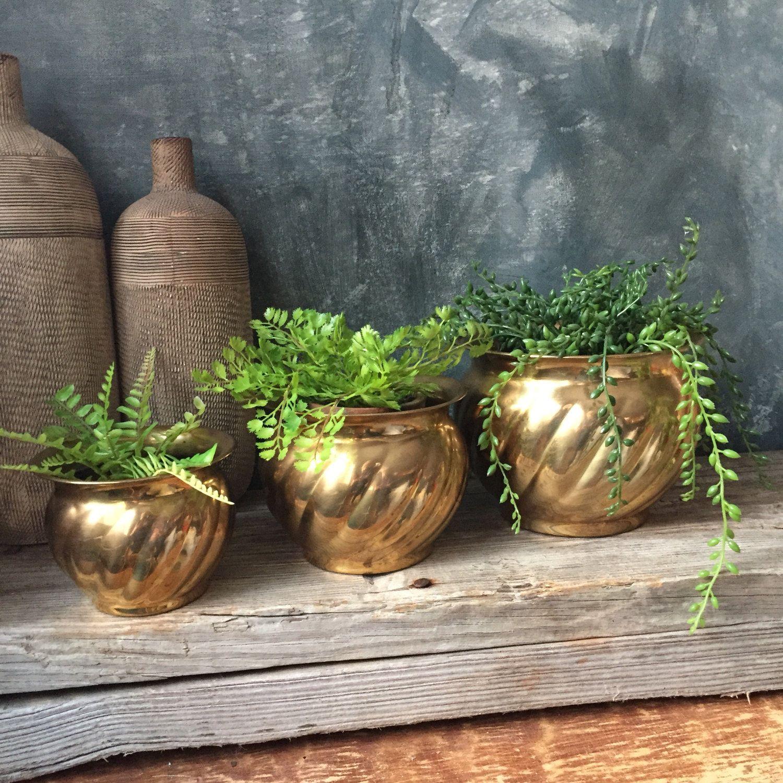 Vintage Brass Planters | Set of Three Brass Flower Pots | Solid ...