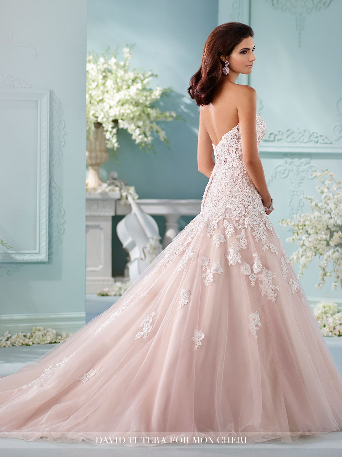 Strapless Dropped-Waist Lace A-Line Wedding Dress- 216241 Kalapini ...