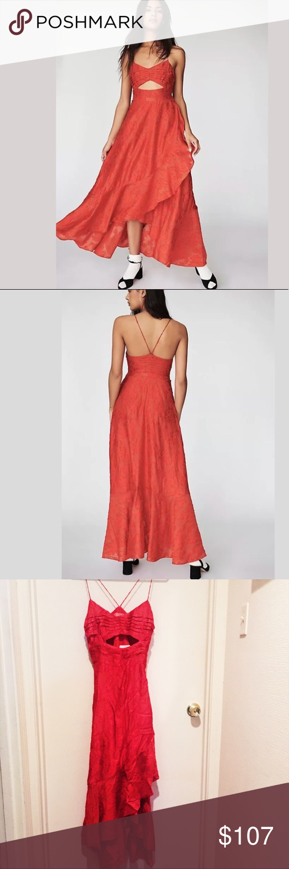 b0af4e0bcb9 65% off 💃🏼 Free People Buona Sera Maxi Dress FP buona sera dress • new  with tags • size 8 • red with subtle embroidery • has a lot of shape to ...