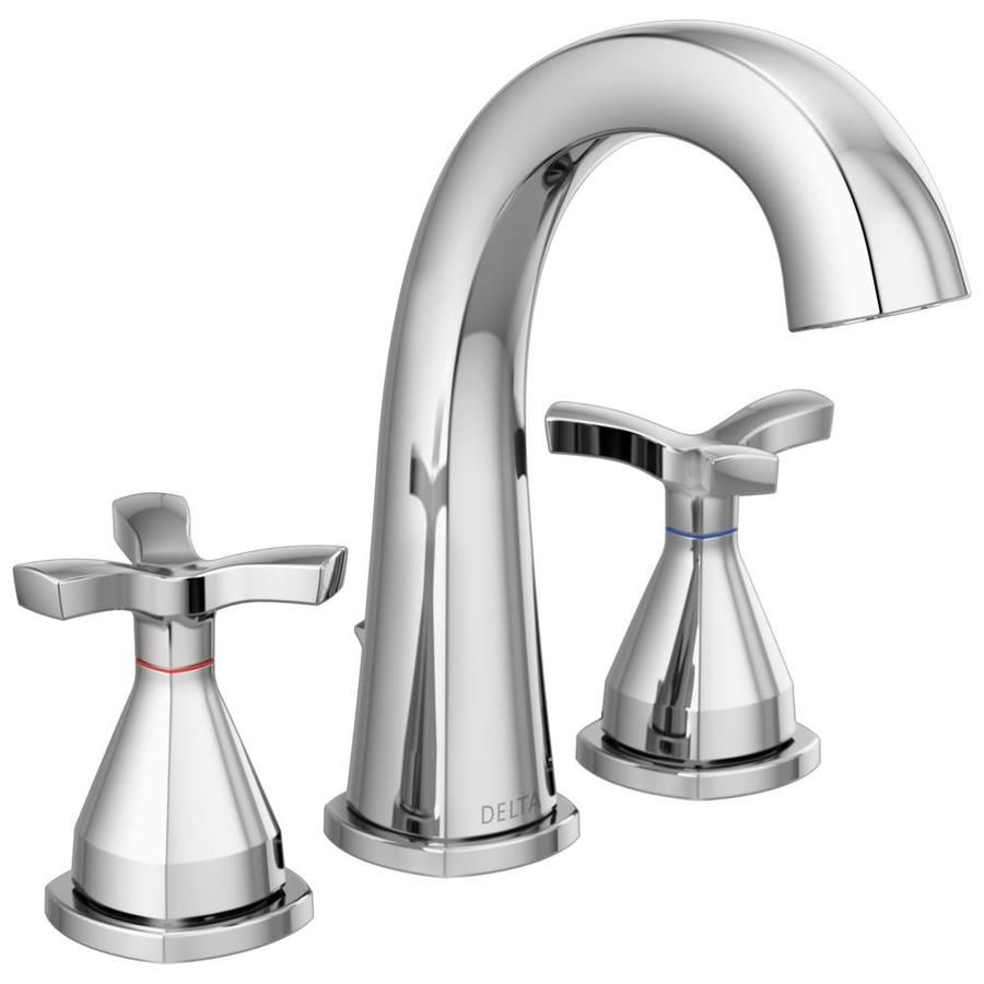 Delta Stryke Chrome 2 Handle Widespread Watersense Bathroom Sink Faucet With Drain And Deck Plate Lowes Com Widespread Bathroom Faucet Delta Faucets Bathroom Faucets [ 900 x 900 Pixel ]