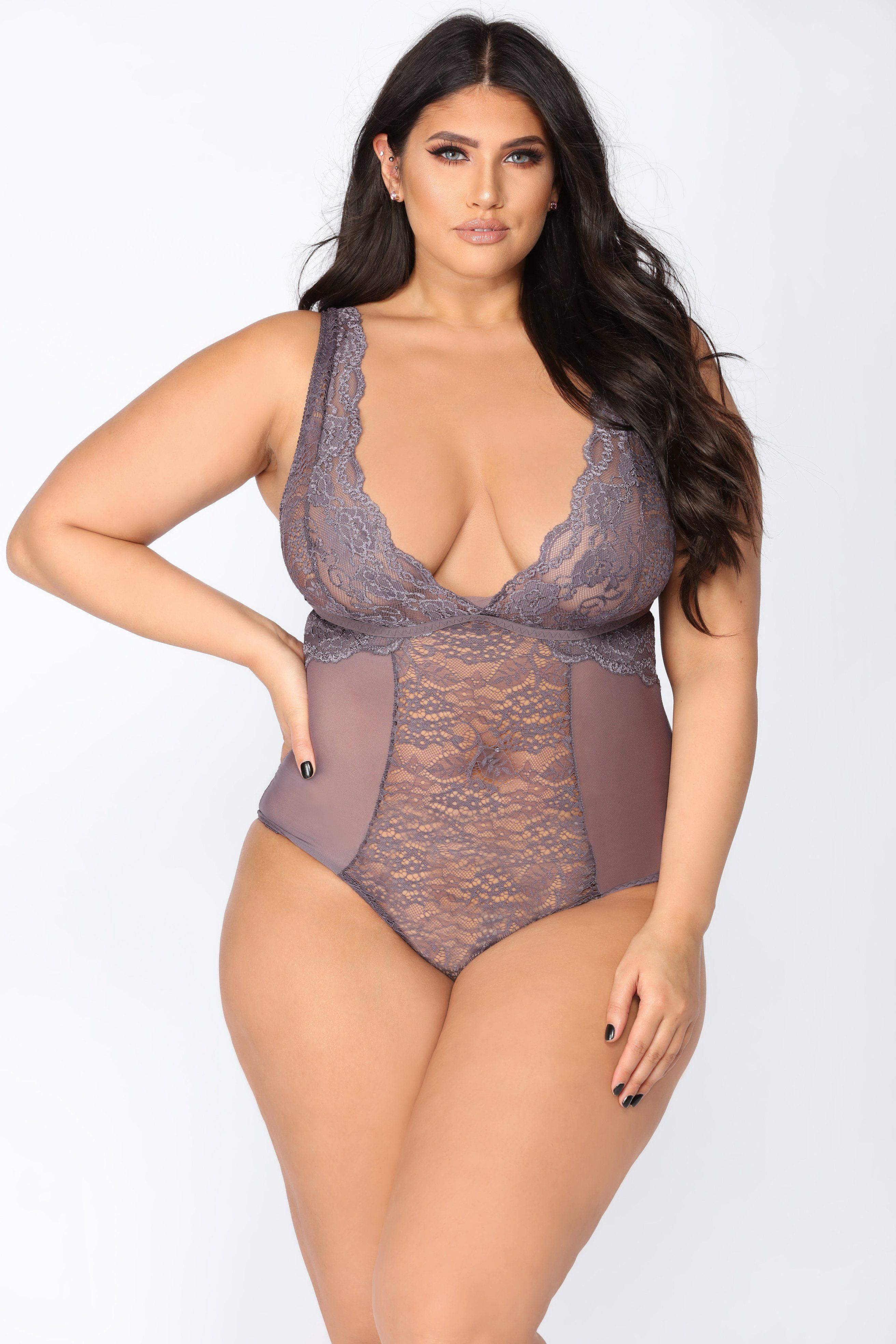 3e09158b2f4 Available In Blush And Grey Lace Teddy Mesh Side Insert 1 Piece Snap  Closure 96% Nylon 4% Spandex All Lingerie FINAL SALE