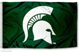 Michigan State University Spartan Flag Michigan State Spartans Michigan State University College Flags