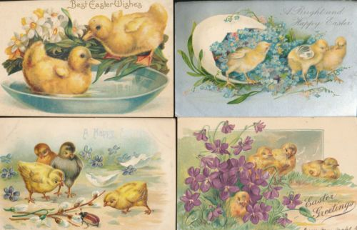 Beautiful Lot of 4 Easter CHICKS Vintage Antique Embossed Postcards-hhh-521
