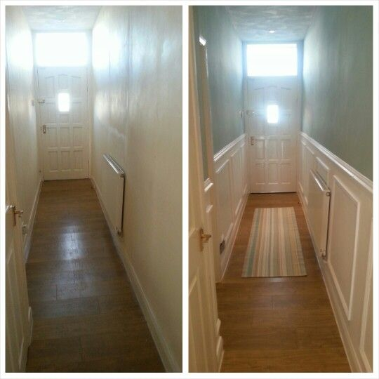Hallway transformation wood panelling small house ideas Wood paneling transformation