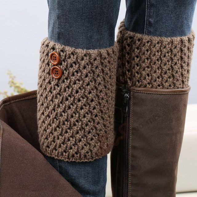 Mujeres del diseñador moda botones Calentadores de la pierna otoño ...