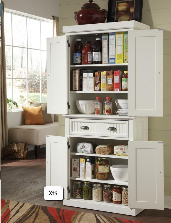Sleek Kitchen Pantry Storage Cabinets Tall Wood Shelves Vintage Hardware Decor