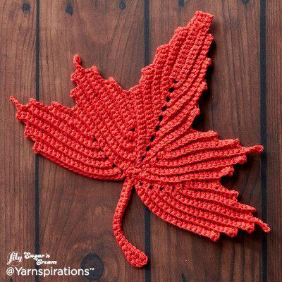 Maple Leaf Crochet Dishcloth Crochet Pattern Bernat