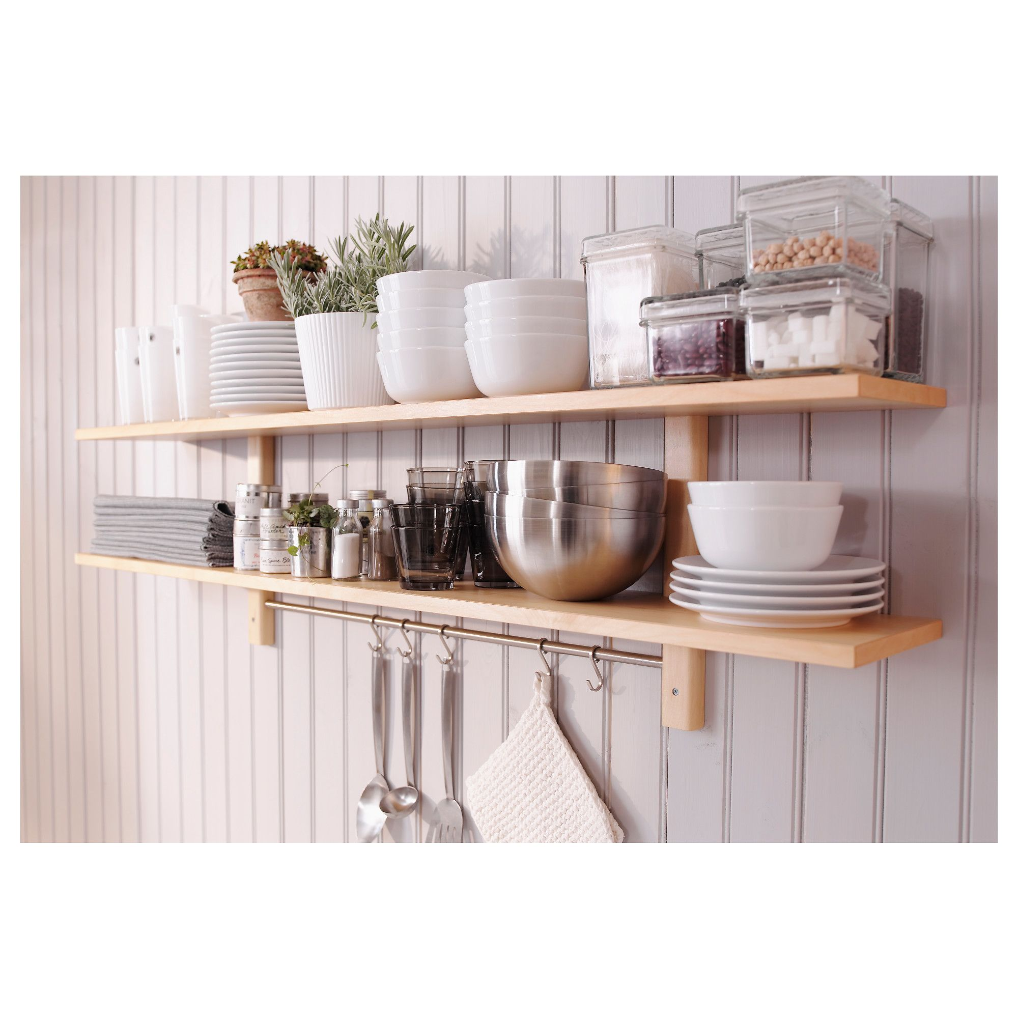 Ikea Värde Küchenregal VÄrde Wall Shelf With 5 Hooks Birch 140 X 50 Cm In 2019