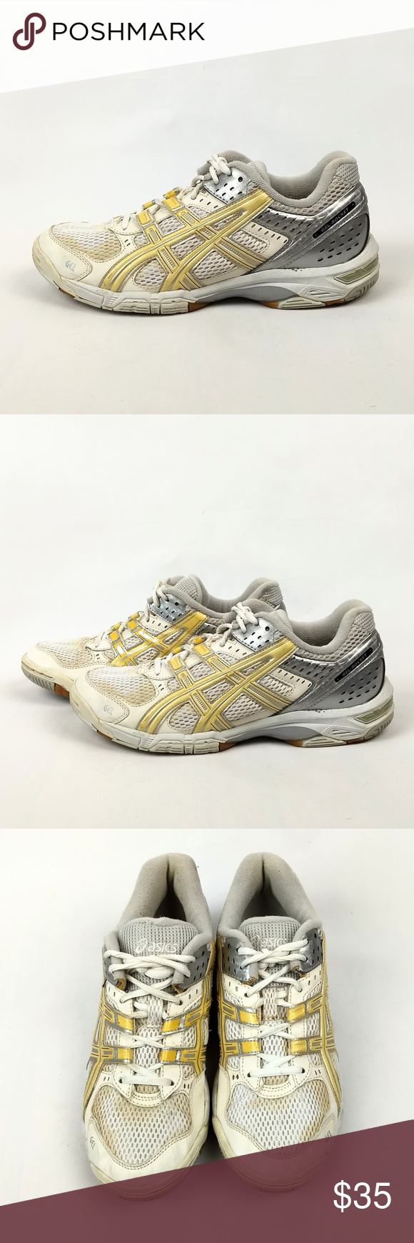 Asics B053n Gel Rocket 5 Volleyball Shoes Size 8 5 Asics Gel Rocket 5 Volleyball Shoes Color White Silver Gold Model B0 With Images Volleyball Shoes Shoes Gold Models