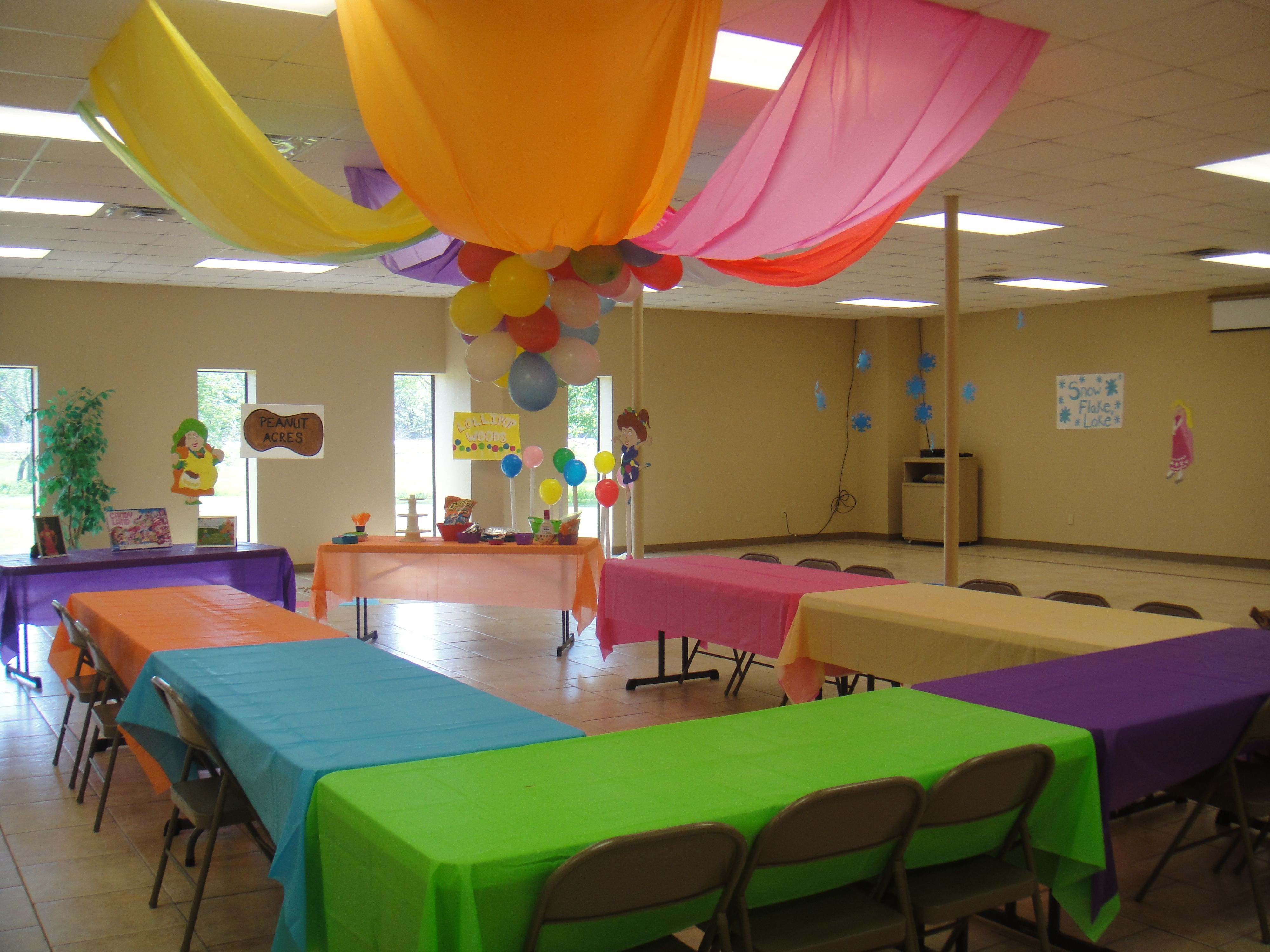 candy land party all different colored table cloths