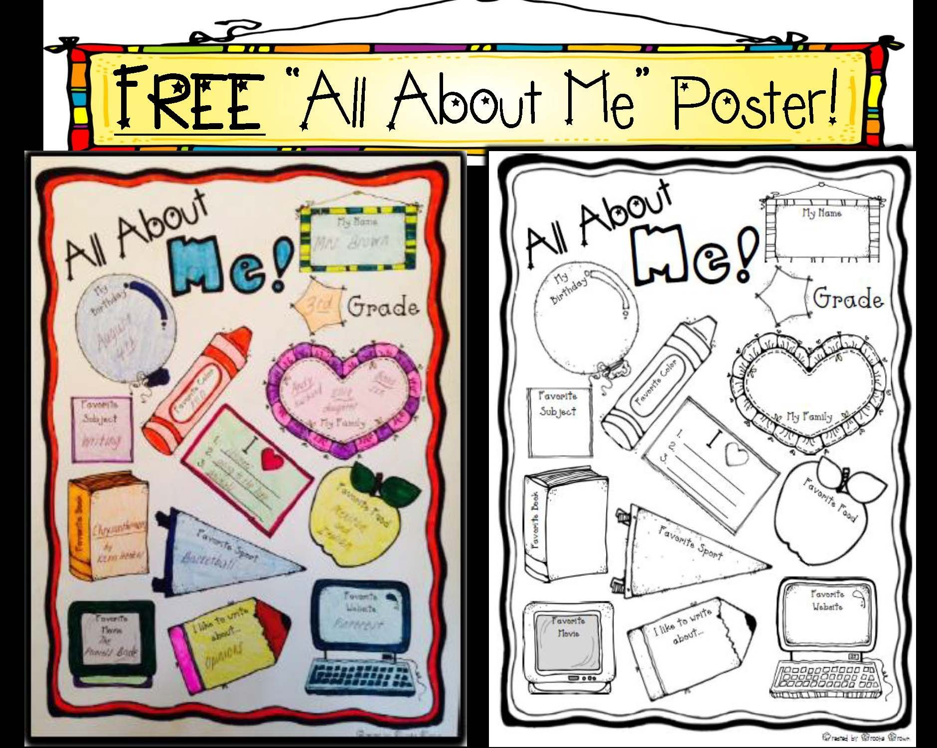 Free All About Me Back To School Poster