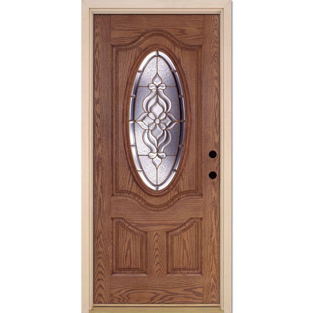 Feather River Doors 37.5 in. x 81.625 in. Lakewood Brass 3/4 Oval Lite Stained Medium Oak Fiberglass Prehung Front Door