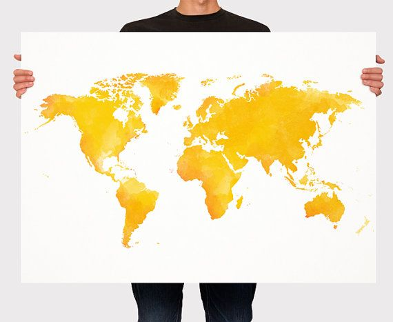 World map watercolor art print poster yellow and orange world map world map watercolor art print poster yellow and orange world map room decor gumiabroncs Image collections