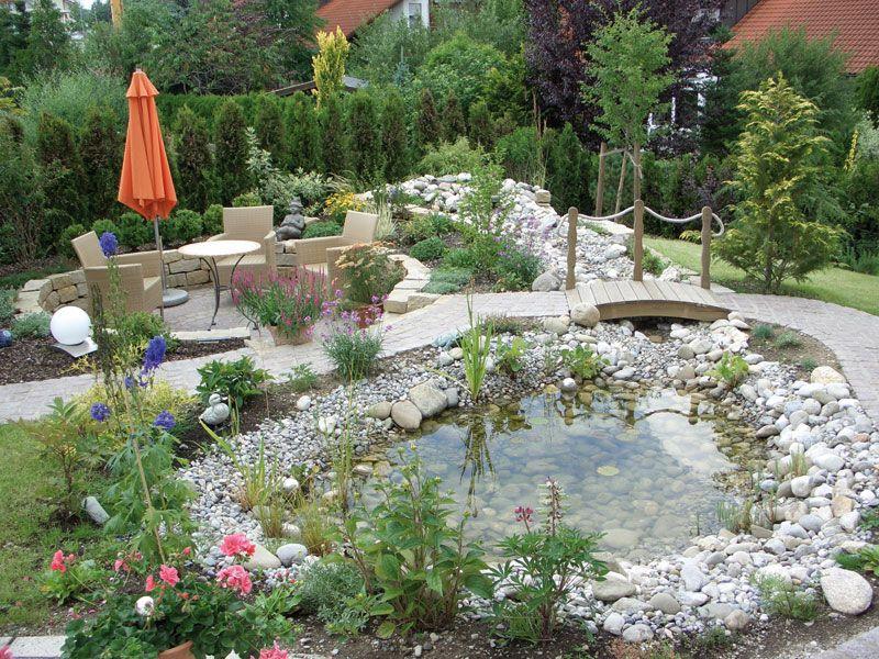 gartenteich mit bachlauf und brücke - Google-Suche | garden ideas ...
