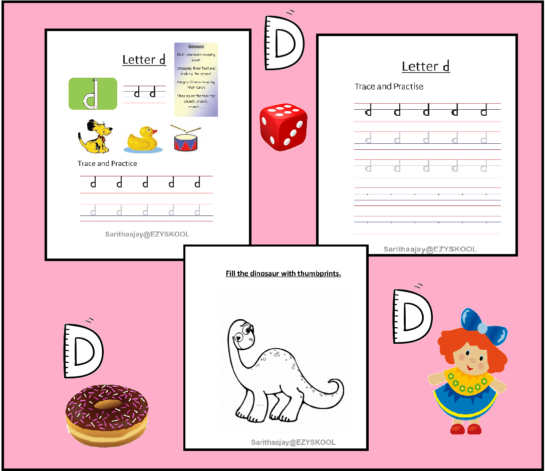 Letter D Practice Sheets And Worksheet In