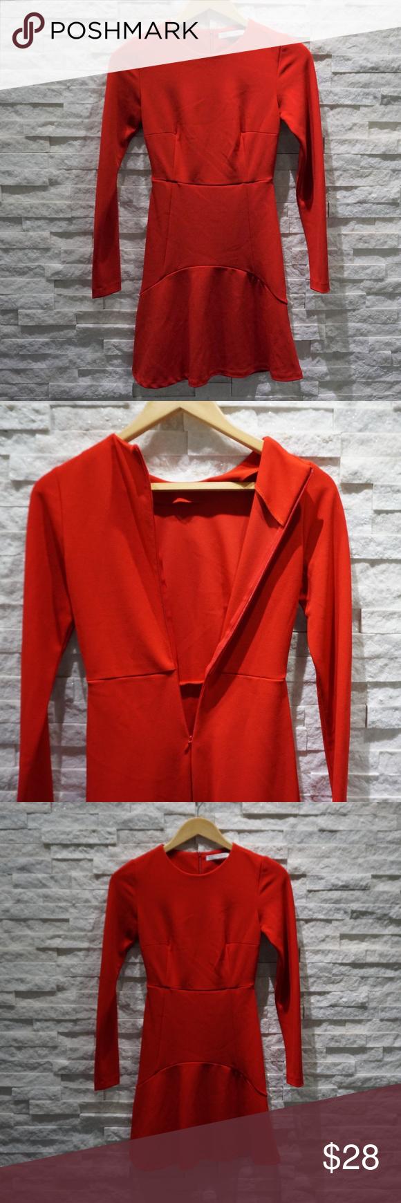 Zara trafaluc long sleeve dress red xs my posh closet pinterest